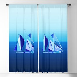 Modern Geometric Sailboat / Yacht, Cobalt Blue Blackout Curtain