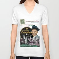 frank sinatra V-neck T-shirts featuring Frank Sinatra - New York by Dots Studio