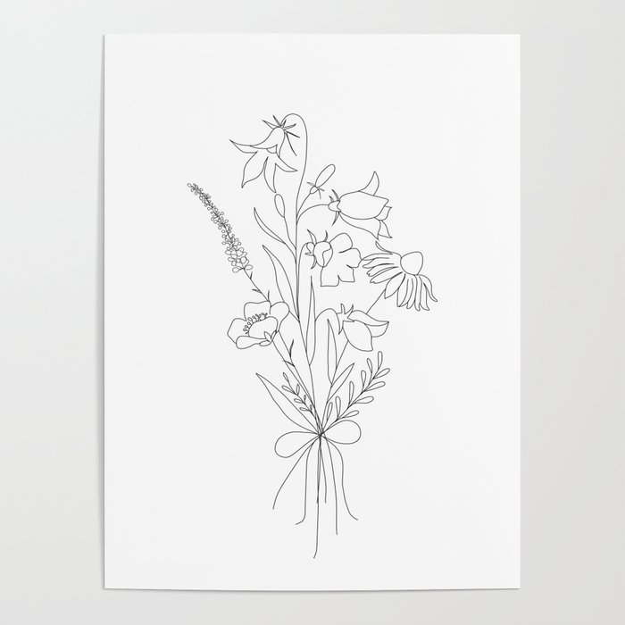 Small Wildflowers Minimalist Line Art Poster By Nadja1 Society6