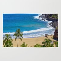 hawaiian Area & Throw Rugs featuring Hawaiian beach by Ricarda Balistreri
