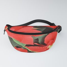 Beautiful Red Poinsettia Christmas Flowers Fanny Pack