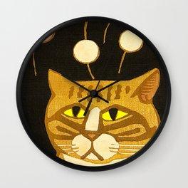 Japanese Cat Cubism Woodblock Print Cherry Blossom Midcentury Modern Wall Clock