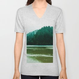 Foggy Beach in Oregon Unisex V-Neck