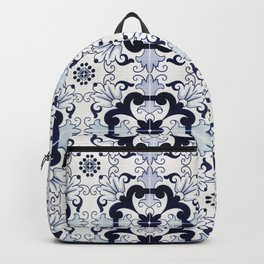 Portuguese Tiles Azulejos Blue and White Pattern Backpack