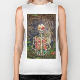 Blooming skeleton in the dark forest  with butterflies Biker Tank