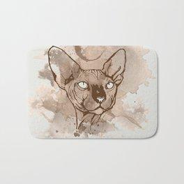 Watercolor Sphynx (Sepia/Coffee stain) Bath Mat