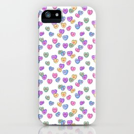 Feminist Valentine Candy Hearts in White, No Wifey iPhone Case