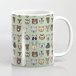 Wild Animal Portraits Green Texture Coffee Mug