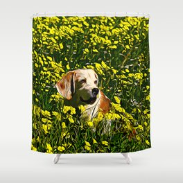 beagle dog flower field vector art Shower Curtain