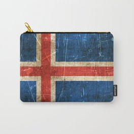 Vintage Aged and Scratched Icelandic Flag Carry-All Pouch