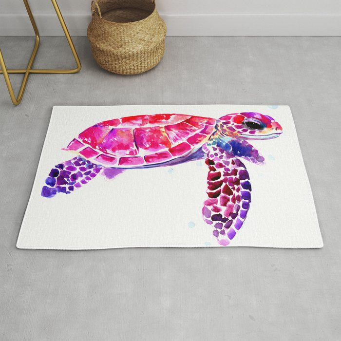 Purple Turtle Bright Pink, purple blue turtle illustration, children room  decor Rug by sureart