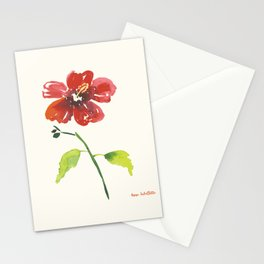 Hibiscus on yellow background Stationery Cards