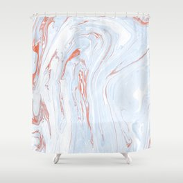 Blue Orange Marble Retro Marble Paper Shower Curtain