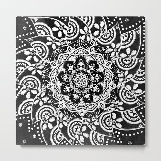 Spirit Within Black & White Patterned Mandala Metal Print