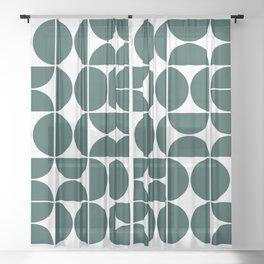 Mid Century Modern Geometric 04 Dark Green Sheer Curtain