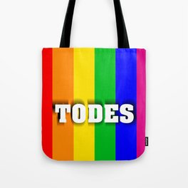 Flag with LGBT colors with inclusive language Tote Bag