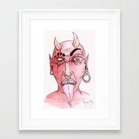 devil Framed Art Prints featuring dEVIL by SpookyArt