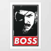 metal gear solid Art Prints featuring Big Boss - Metal Gear Solid by TxzDesign