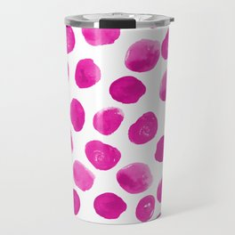 Lila - pink polka dots painted abstract minimal modern office dorm college decor Travel Mug