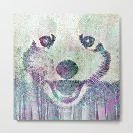 Red Panda Abstract  mixed media digital art collage Metal Print