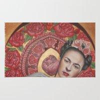 frida kahlo Area & Throw Rugs featuring Frida kahlo by Magdalena Almero