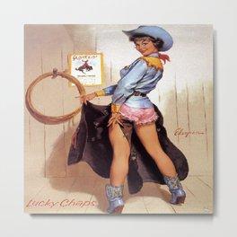Vintage Western Luck Chaps Elvgren Cowgirl  Metal Print