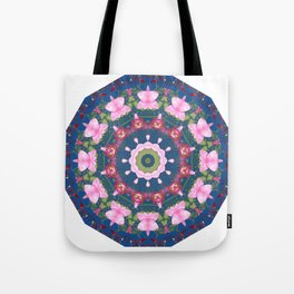 Flower-Mandala, blue pink, Spring blossoms Tote Bag