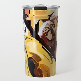 Playing Saxophone and Cello Abstract Expressive Painting Travel Mug