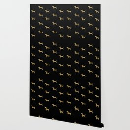 Dachshund Dog Gold Glitter Pattern Wallpaper