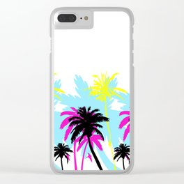 CMYK Palm Trees Clear iPhone Case