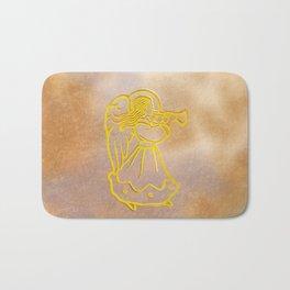 Golden Angel with trumpet Bath Mat