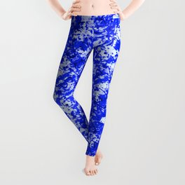Blue and White Fluid Abstract 45 Leggings