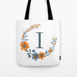 Monogram I Orange Autumn Floral Wreath Tote Bag