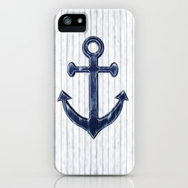 Rustic Anchor in navy blue iPhone Case