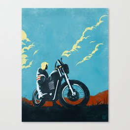 Retro caferacer scrambler motorcycle poster Canvas Print