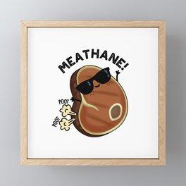 Meathane Cute Farting Meat Pun Framed Mini Art Print