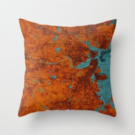 Boston 1893 old map, blue and orange artwork, cartography Throw Pillow