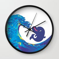 hokusai Wall Clocks featuring Hokusai Rainbow & Babydolphin by FACTORIE