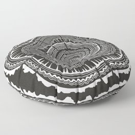 Growth Rings – 65 Years – Black Floor Pillow