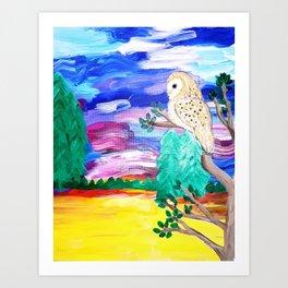 Owl Sunset Art Print