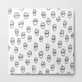 lips in grey Metal Print
