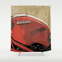 ducati Shower Curtains featuring Ducati Monster by Larsson Stevensem