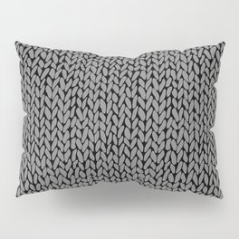 Hand Knit Dark Grey Pillow Sham
