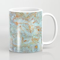 jewish Mugs featuring Marble in shades of blue and gold by Brown Eyed Lady