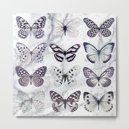 Black and white marble butterflies Metal Print