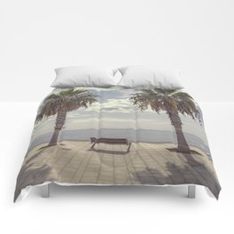 Palm trees in Palma de Mallorca Comforters