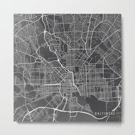 Baltimore Map, USA - Gray Metal Print