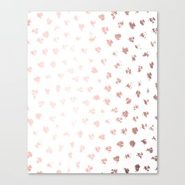 Rose Gold Pink Polka Splotch Dots on White Canvas Print