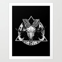 goat Art Prints featuring Goat by alesaenzart