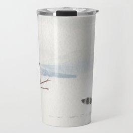 Snowman and Raccoon Travel Mug